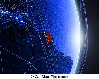 French Guiana on blue blue digital Earth