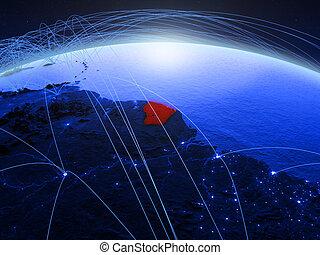 French Guiana on blue blue digital globe
