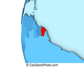 French Guiana on blue globe
