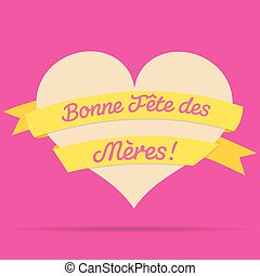 French Happy Mother's Day heart with ribbon card in vector...