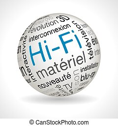 French hifi theme sphere vector with keywords