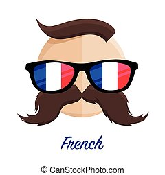 French hipster glasses moustache