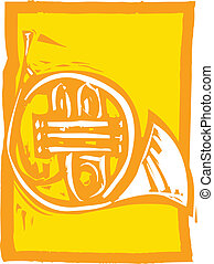 French Horn - Woodcut image of a french horn on an orange...