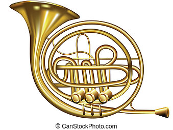 french horn isolated on a white background