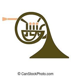 french horn flat illustration