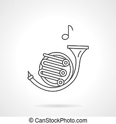 French horn flat line vector icon