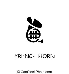 French Horn flat vector icon