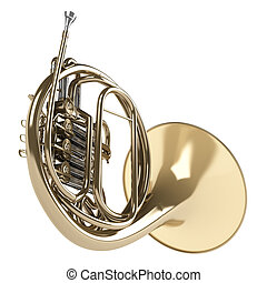 French horn - French double horn isolated on white...