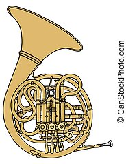 French horn - Hand drawing of a classic french horn