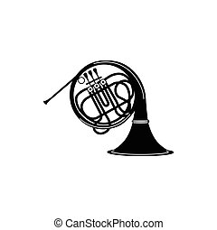 French horn icon, black simple style