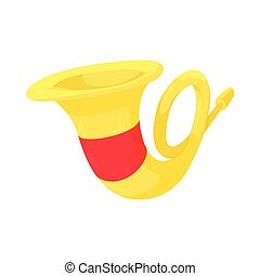 French horn icon, cartoon style