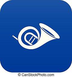 French horn icon digital blue