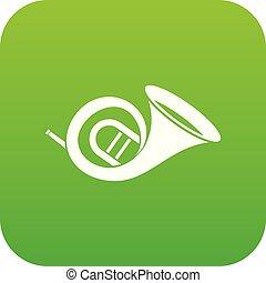French horn icon digital green