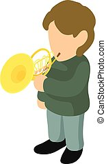 French horn icon, isometric style