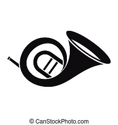 French horn icon, simple style