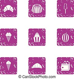 French horn icons set, grunge style