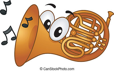 French Horn Mascot - Mascot Illustration Featuring Musical...