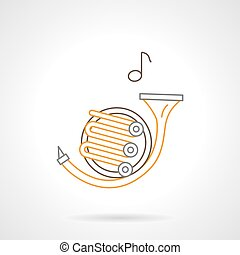 French horn melody flat line vector icon