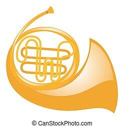 French horn on white background illustration