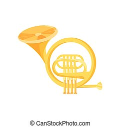 french horn on white background