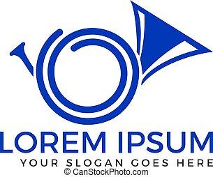 French Horn Silhouette Vector Logo