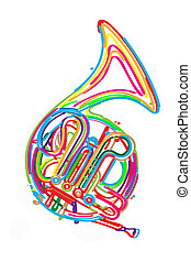 French horn - Stylized french horn against white background.