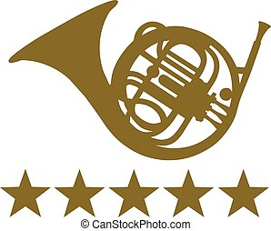 French Horn with five stars