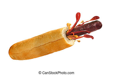 French hot dog on a white background