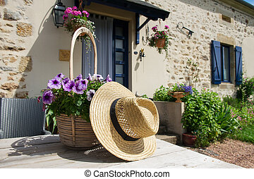 French house with flowers in garden