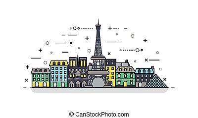 French icon linear style - illustration background icon...