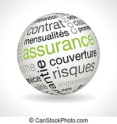 French Insurance policy theme sphere with keywords - French...
