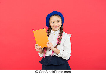 french language. learning french. happy child in uniform....