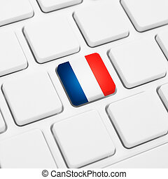 French language or France web concept. National flag button...