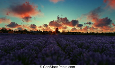 French lavander village with old windmill against beautiful timelapse sunrise