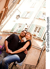 French Lifestyle Couple - A happy french couple in a small...