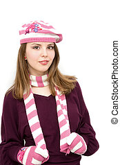 768a30aeebd64 Lovely girl wearing pink french hat.