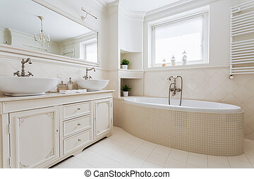 French luxurious bathroom with window - Horizontal picture ...