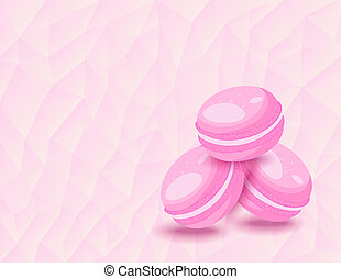 French macarons on the background of triangles