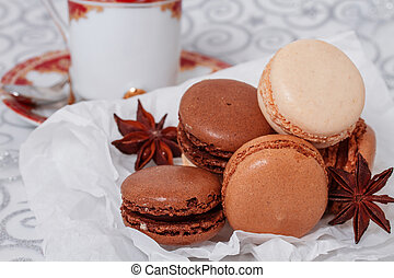 French macaroon with a cup of coffee