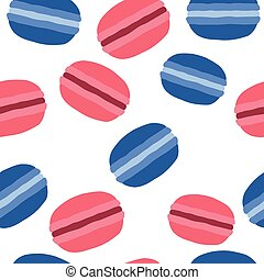French macaroons dessert. Pattern on a white background.