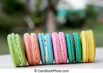 French macaroons multi colorful is delicious