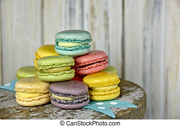 French macaroons on ribbon