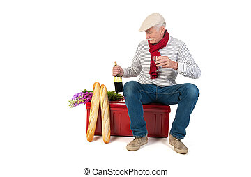 French man with bread and wine