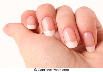 French manicure 02 - Woman's hand with French manicure