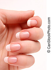 French manicure 04 - Woman's hand with French manicure