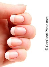 French manicure 05 - Woman's hand with French manicure