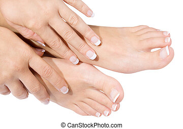 French manicure and pedicure - Woman pedicure isolated on...