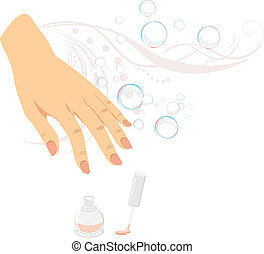 French manicure, nail enamel and bubbles. Vector...