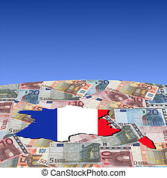 French map flag on euros