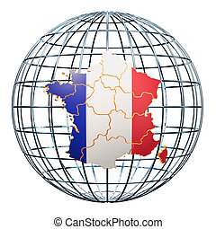 French map on the Earth Globe. 3D rendering